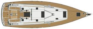 Yachtcharter Sun Odyssey 509 Deckplan 5+1 Cab 3 WC